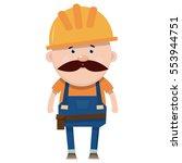 cartoon builder in flat style.... | Shutterstock .eps vector #553944751