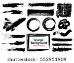 set of black paint  ink brush... | Shutterstock .eps vector #553951909
