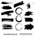 set of black paint  ink brush... | Shutterstock .eps vector #553951921