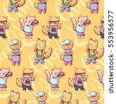 seamless pattern   funny... | Shutterstock . vector #553956577