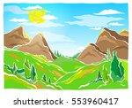 mountain peaks  hills  valley... | Shutterstock .eps vector #553960417