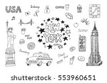 new york city illustrations set. | Shutterstock .eps vector #553960651