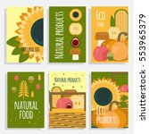 natural food concept cards. eco ... | Shutterstock .eps vector #553965379