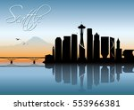 seattle skyline   washington  ... | Shutterstock .eps vector #553966381