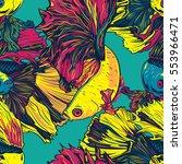 colorful betta fish seamless... | Shutterstock .eps vector #553966471