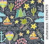 cartoon hand drawn doodles on a ...   Shutterstock .eps vector #553968775