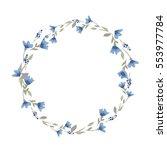 watercolor flower wreath... | Shutterstock .eps vector #553977784