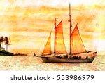 key west sun set  | Shutterstock . vector #553986979