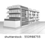 set of supermarket shelves with ... | Shutterstock . vector #553988755