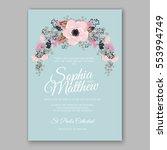 anemone wedding invitation card ... | Shutterstock .eps vector #553994749