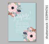 anemone wedding invitation card ... | Shutterstock .eps vector #553994761