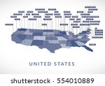 3d usa state map | Shutterstock .eps vector #554010889