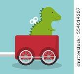 rex dinosaur in train wagon   Shutterstock .eps vector #554014207