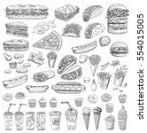 big vector set  fast food.... | Shutterstock .eps vector #554015005