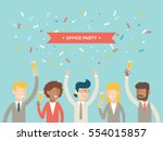 office party happy people... | Shutterstock .eps vector #554015857