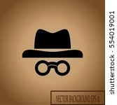 unknown man in hat and glasses ....   Shutterstock .eps vector #554019001