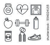 set fitness equipment icon | Shutterstock .eps vector #554024155