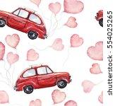 watercolor valentine's day... | Shutterstock . vector #554025265