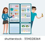 man and woman with fridge. open ... | Shutterstock .eps vector #554028364