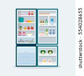 fridge. open refrigerator with... | Shutterstock .eps vector #554028655
