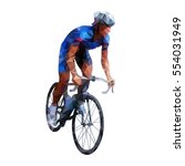polygonal road cyclist ... | Shutterstock .eps vector #554031949