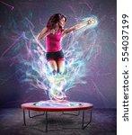 power jump fitness | Shutterstock . vector #554037199
