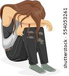 illustration of a teenage girl... | Shutterstock .eps vector #554053261
