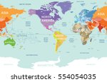 world map colored by continents ... | Shutterstock .eps vector #554054035