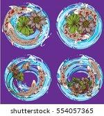 vector set koi and butterflies...   Shutterstock .eps vector #554057365