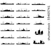 Illustration of 20 different kinds of cargo ship  in vector.