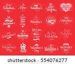 happy valentines day typography ... | Shutterstock .eps vector #554076277