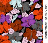 seamless tropical flowers in... | Shutterstock .eps vector #554077504