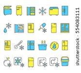 colorful fridge line icons set. ...   Shutterstock .eps vector #554083111