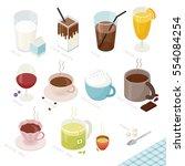 isometric food beverage drink... | Shutterstock .eps vector #554084254
