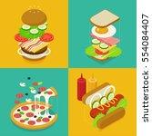 isometric food buger sandwich... | Shutterstock .eps vector #554084407