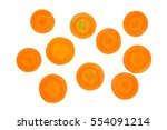 carrot slice isolated on white... | Shutterstock . vector #554091214