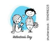 couple in love kissing ... | Shutterstock .eps vector #554098225
