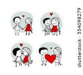couple in love kissing ... | Shutterstock .eps vector #554098279