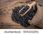 sack of black beans spill beans ...   Shutterstock . vector #554101051
