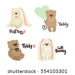 set of cute rabbit and teddy.... | Shutterstock .eps vector #554103301