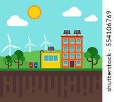 city of renewable energy... | Shutterstock .eps vector #554106769