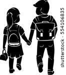 siblings going back to school | Shutterstock .eps vector #554106835