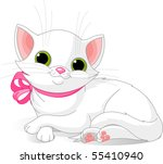 Stock vector illustration of very cute white cat with pink bow 55410940