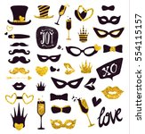 black and gold moustaches  lips ... | Shutterstock .eps vector #554115157