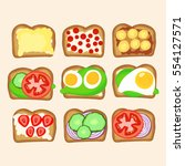 set of toasts with vegetable ... | Shutterstock .eps vector #554127571