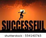 silhouette businessman jumping... | Shutterstock . vector #554140765