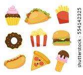 fast food cartoons design   Shutterstock .eps vector #554142325