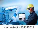 industry concept and blue tone... | Shutterstock . vector #554145619