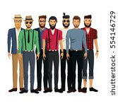 group men style hispter bearded ... | Shutterstock .eps vector #554146729