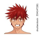 portrait face manga anime male... | Shutterstock .eps vector #554147281